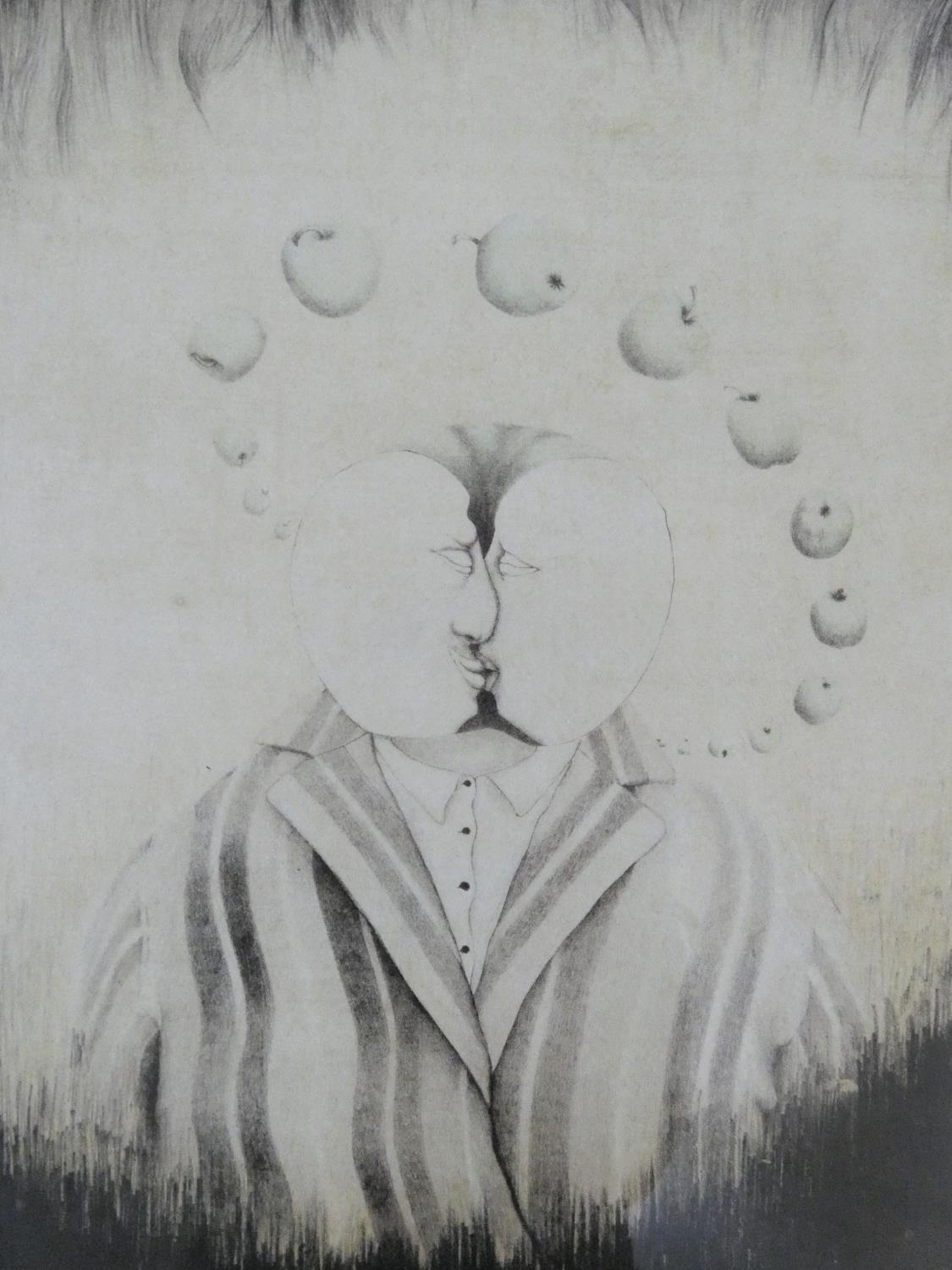 A framed and glazed surrealist signed print of two figures kissing surrounded by a halo of apples.