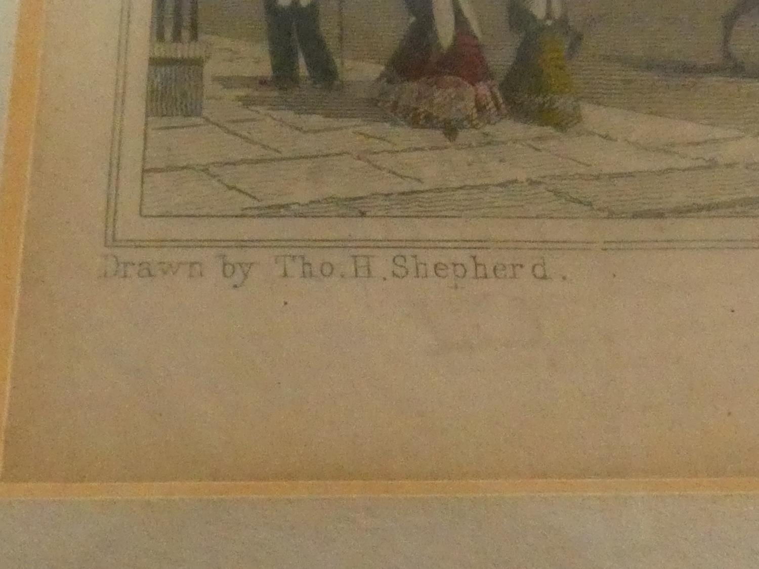 Seven framed and glazed antique hand coloured engravings, four of British places of interest and - Image 8 of 21