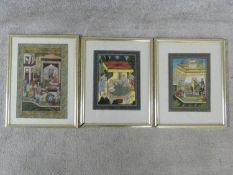 Three framed and glazed Indo-Persian paintings on parchment. Depicting three different court scenes.