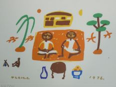 A framed and glazed signed print by Korean artist Chang Ucchin (1918 - 1990), depicting two people