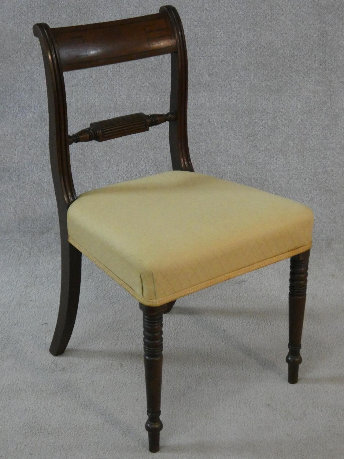 A set of four late Georgian mahogany bar back dining chairs with ebony Greek key pattern inlay above - Image 4 of 7