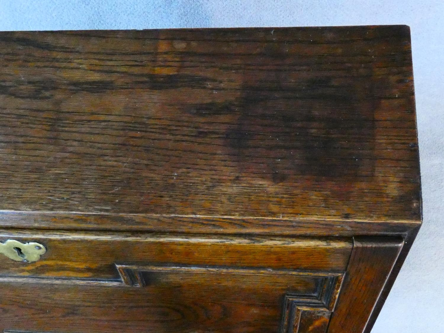 A mid century Jacobean style oak bureau with lozenge inset panels and fall front revealing fitted - Image 11 of 26