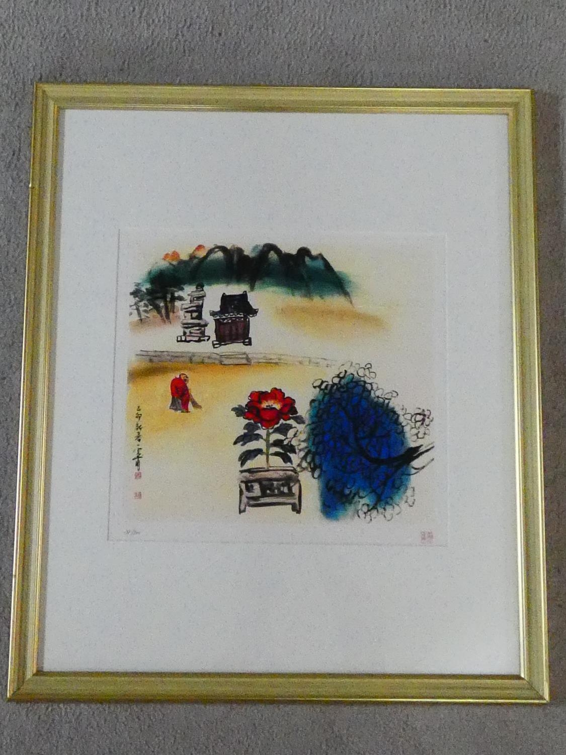 A framed and glazed limited edition signed print by Korean Artist (Kim Ki Chang 1914 - 2001), - Image 2 of 6