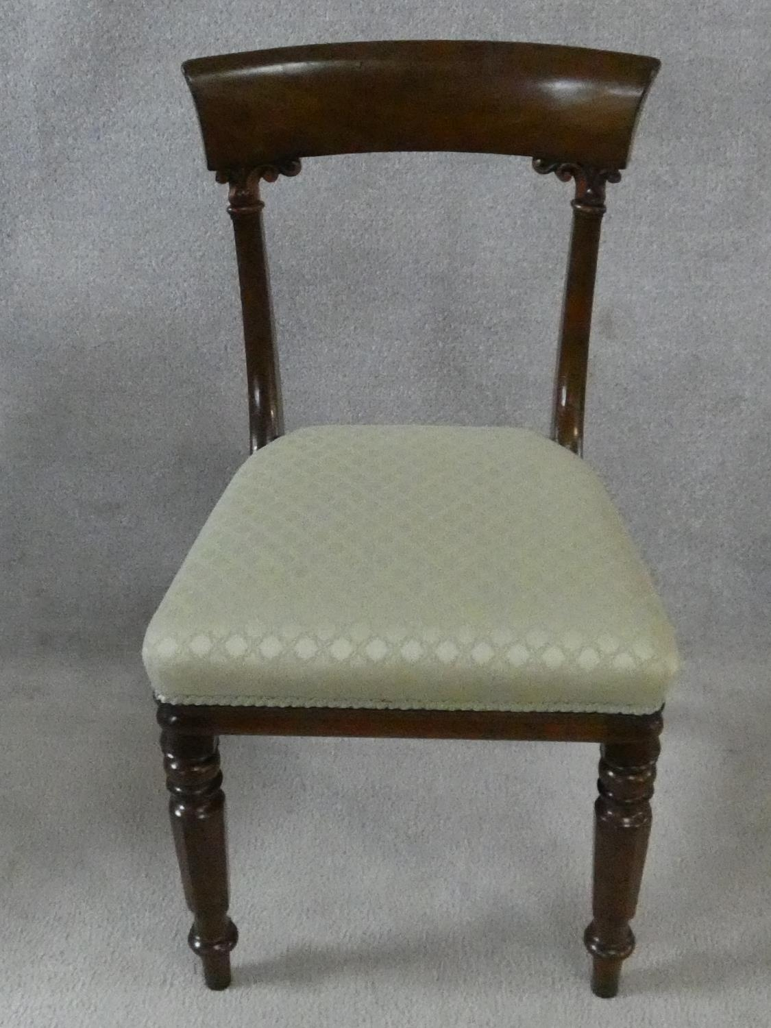 A set of eight William IV mahogany dining chairs with acanthus carving to the backs raised on - Image 2 of 10