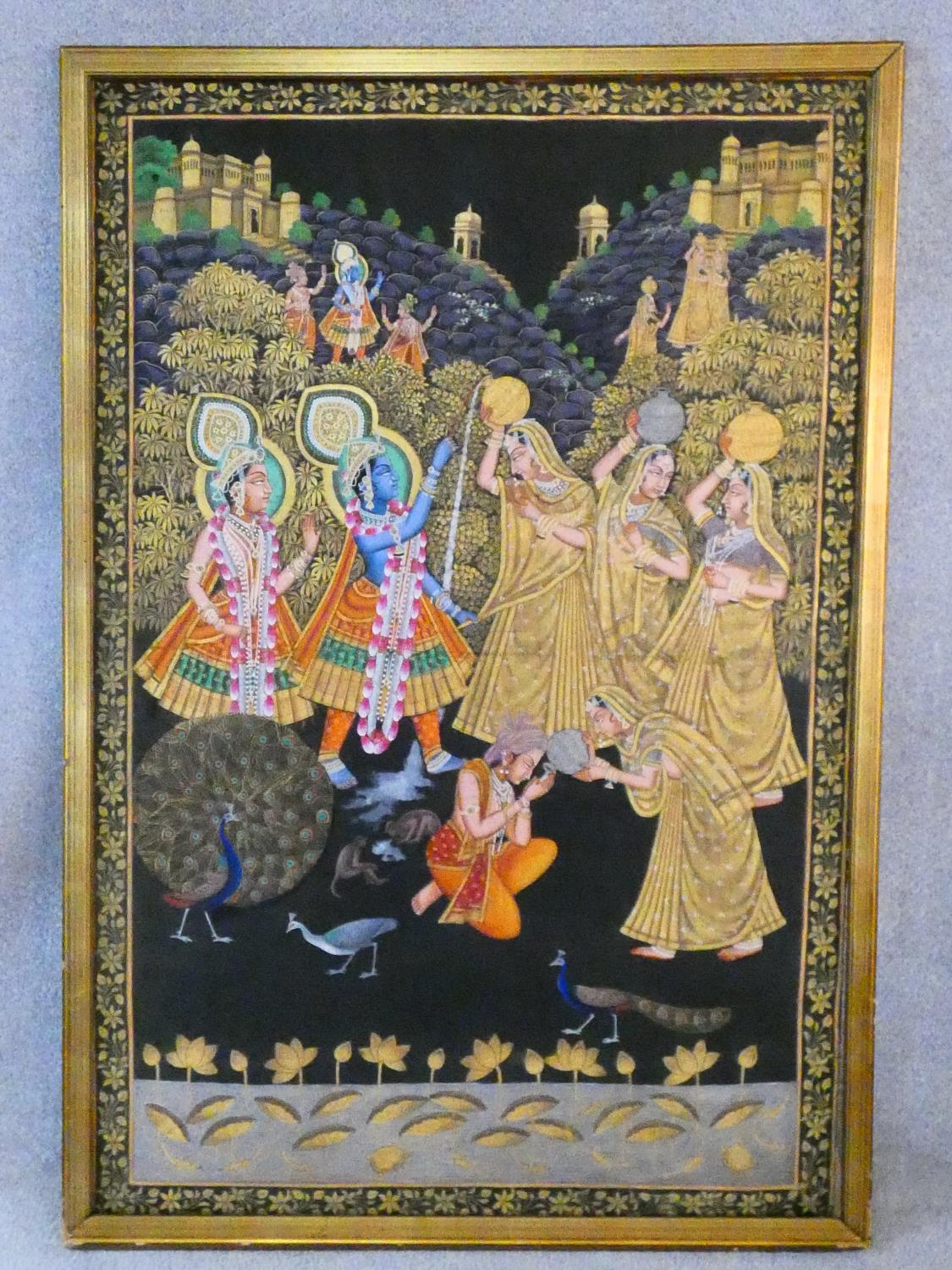 A large framed Indo-Persian gilded silk painting of Krishna with females surrounding him, standing - Image 2 of 8