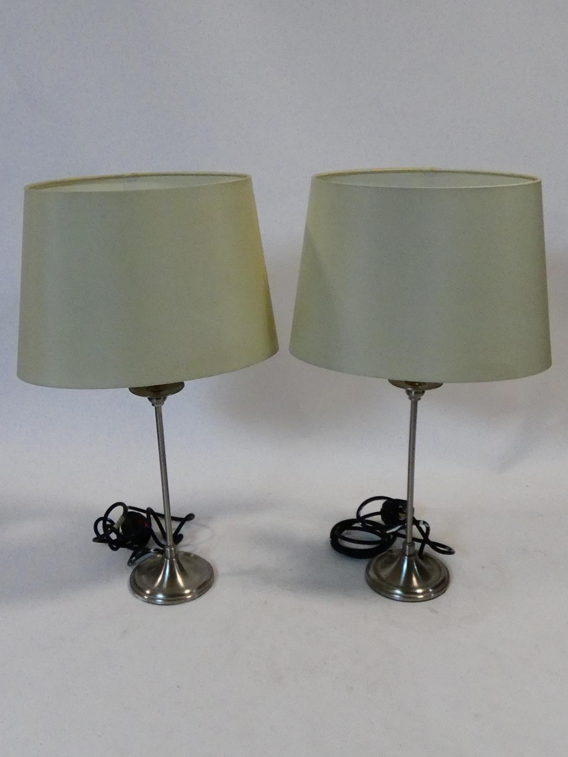 A pair of contemporary table lamps and their shades and a similar pair. H.59cm - Image 2 of 12