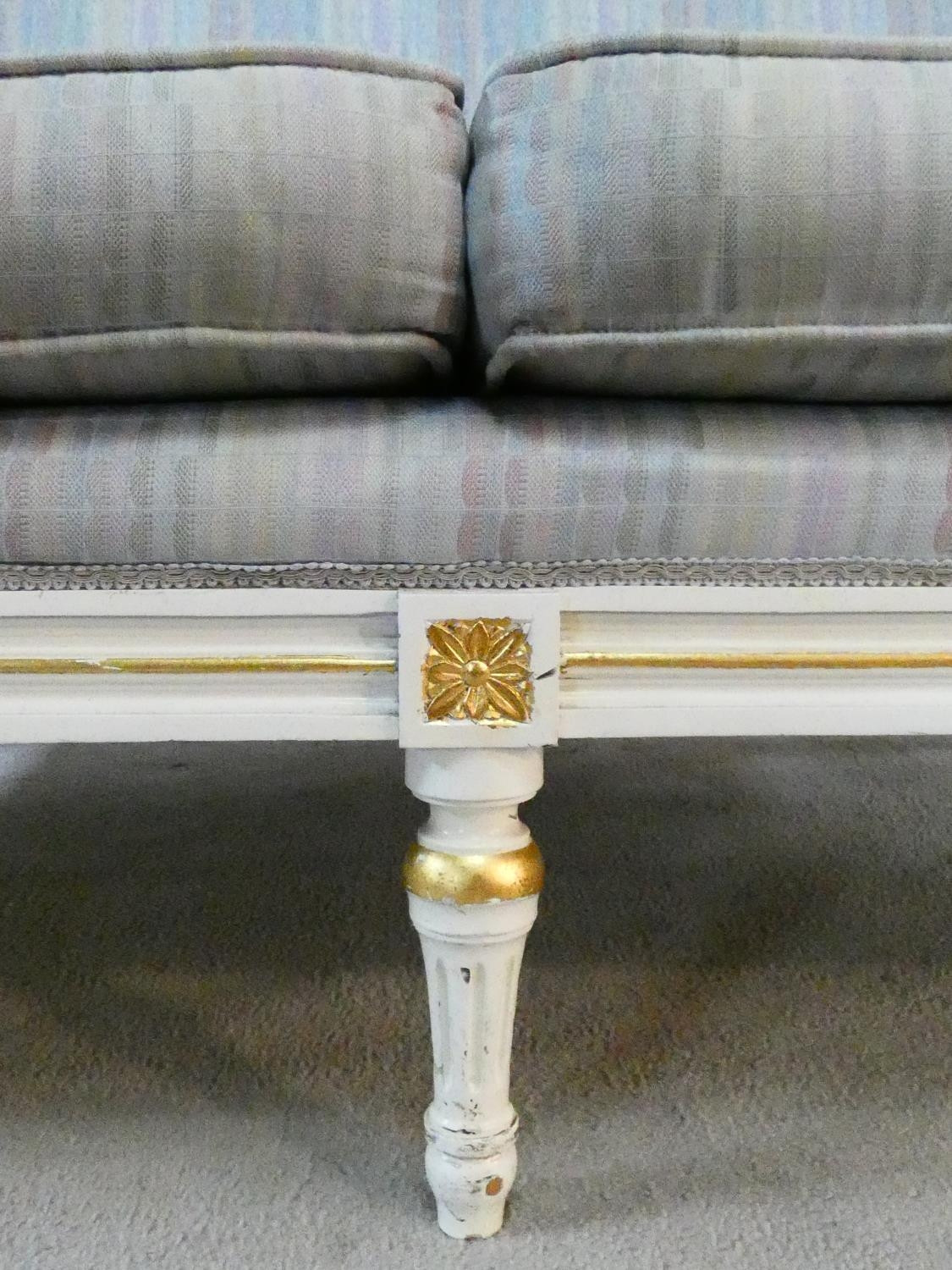 A Louis XVI style gilt and with painted two seater sofa in pale damask upholstery. H.93 L.136 D.77cm - Image 11 of 20