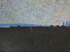 A framed oil on board, North London from Alexandra Palace, signed Terence Howe. 64x47cm