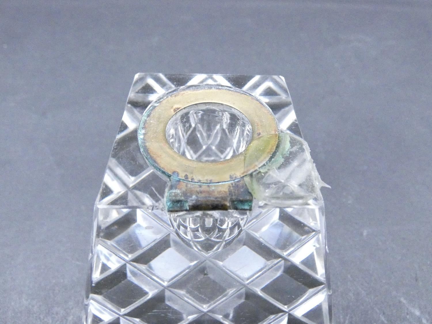 An antique cut glass and brass pyramidal ink well along with a weighted silver ashtray. Hallmarked: - Image 7 of 20