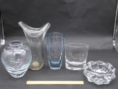 Five Art Glass vases. One by Krosno, Poland, one with an engraved angel fish among water weed design