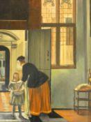 A gilt framed oil on board, Dutch master style interior, unsigned. H.40 W.34cm