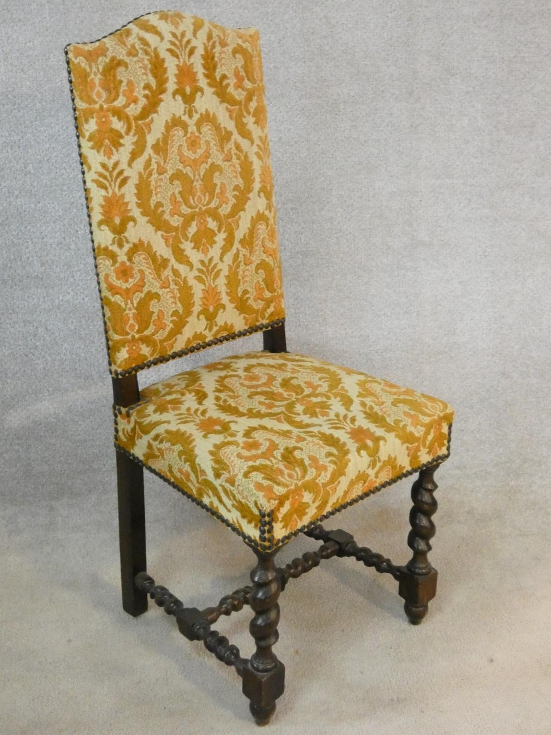 A set of six Jacobean style oak framed high back dining chairs in gold cut floral upholstery on - Image 5 of 14