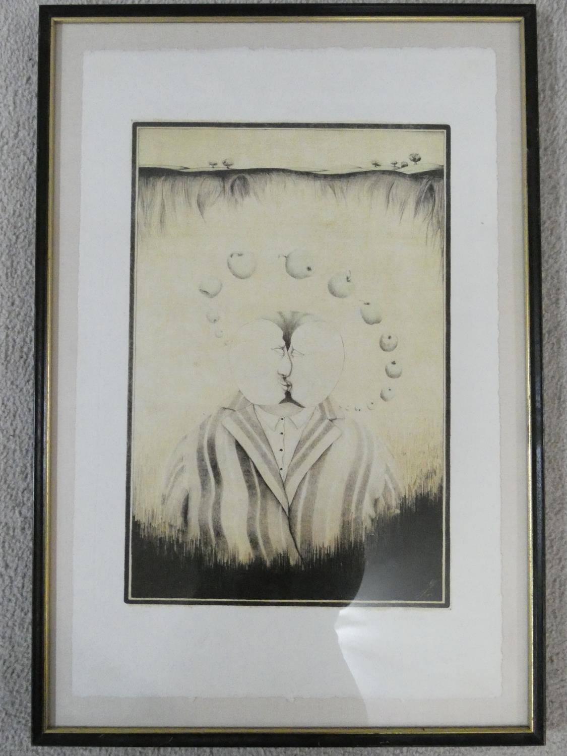 A framed and glazed surrealist signed print of two figures kissing surrounded by a halo of apples. - Image 2 of 5