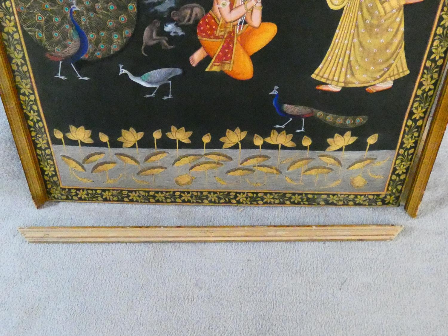 A large framed Indo-Persian gilded silk painting of Krishna with females surrounding him, standing - Image 8 of 8