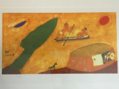 A framed and glazed signed print by Korean artist Chang Ucchin (1918 - 1990), with Chang Ucchin