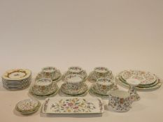 A hand painted Minton Haddon Hall pattern tea set and a set of Meakin floral design cake plates.