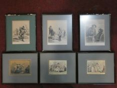 A collection of six framed and glazed antique engravings of satirical cartoons. Three are hand