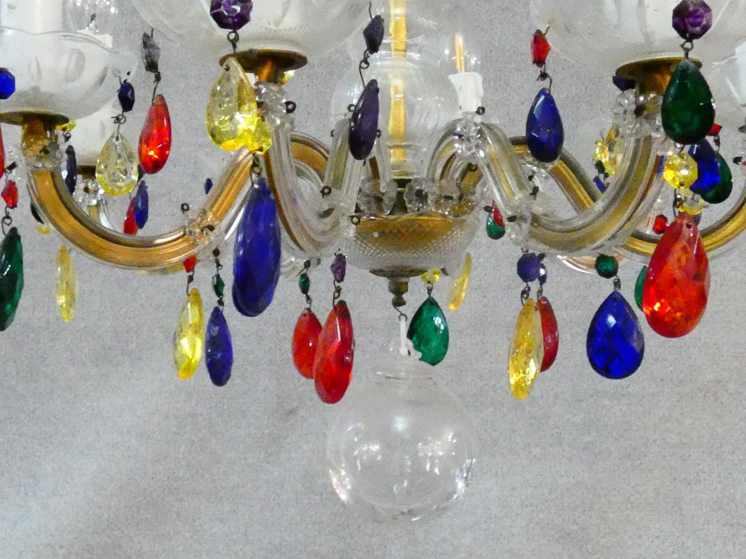 An eight branch glass framed ceiling chandelier with polychrome crystal drops. H.57 D.52cm - Image 5 of 7