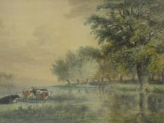 A 19th century watercolour by Thomas Smythe (1825-1907) in ornate gilt frame, pastoral landscape