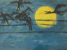 A framed and glazed signed print by Korean artist Lee Jeung Seob (1916-1956), titled 'Moon and
