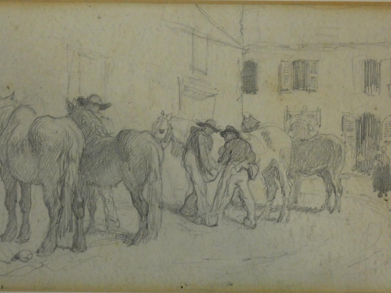 Two 19th century framed and glazed pencil studies, figures in a stable yard and Sir Henry Wilson's - Image 2 of 4