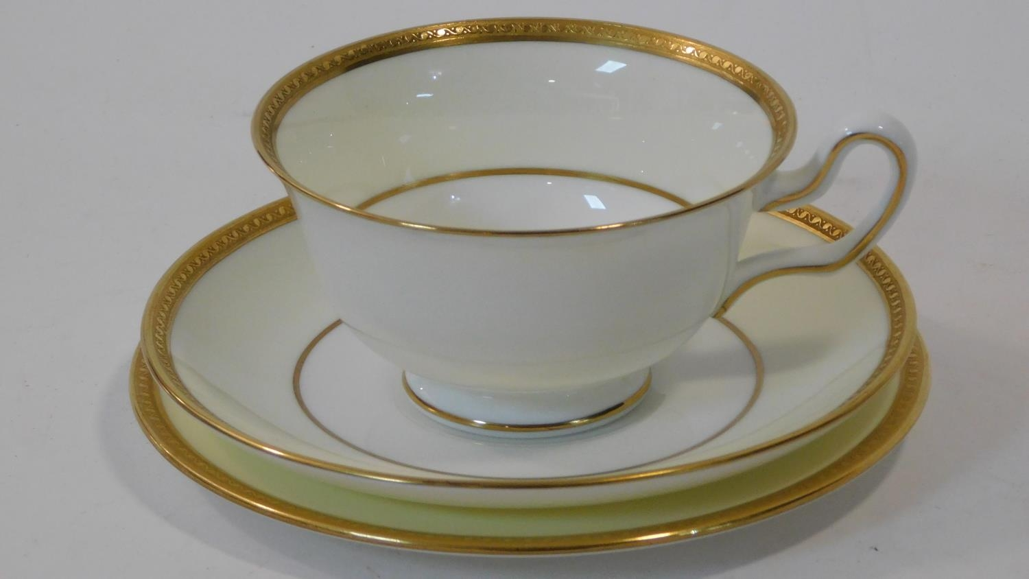 A six person part scrolling gilded design porcelain Wedgwood coffee set, pattern number W4249. - Image 3 of 12
