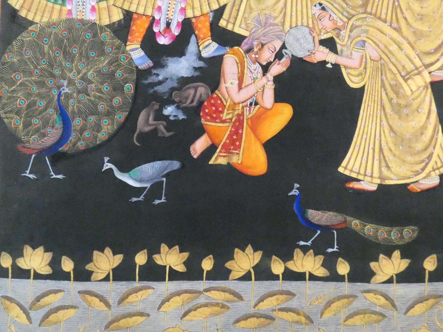 A large framed Indo-Persian gilded silk painting of Krishna with females surrounding him, standing - Image 5 of 8