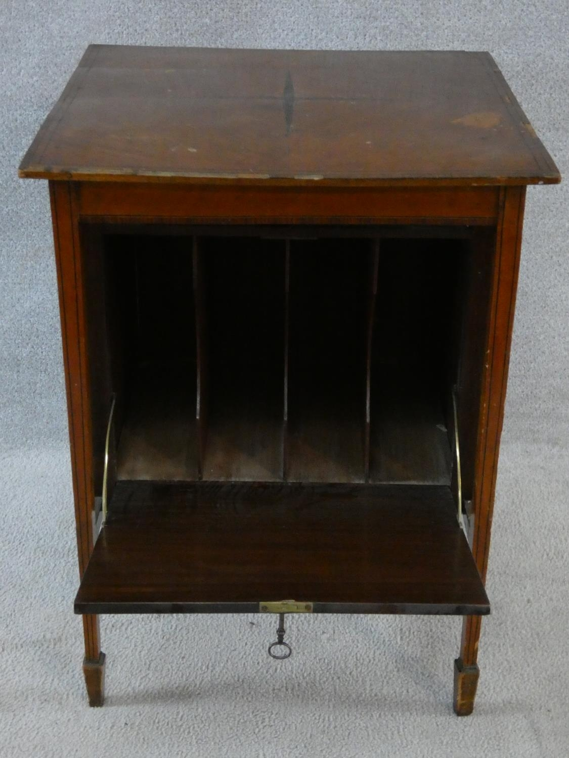 An Edwardian fitted mahogany record cabinet. H.70 W.52 D.52cm - Image 6 of 18
