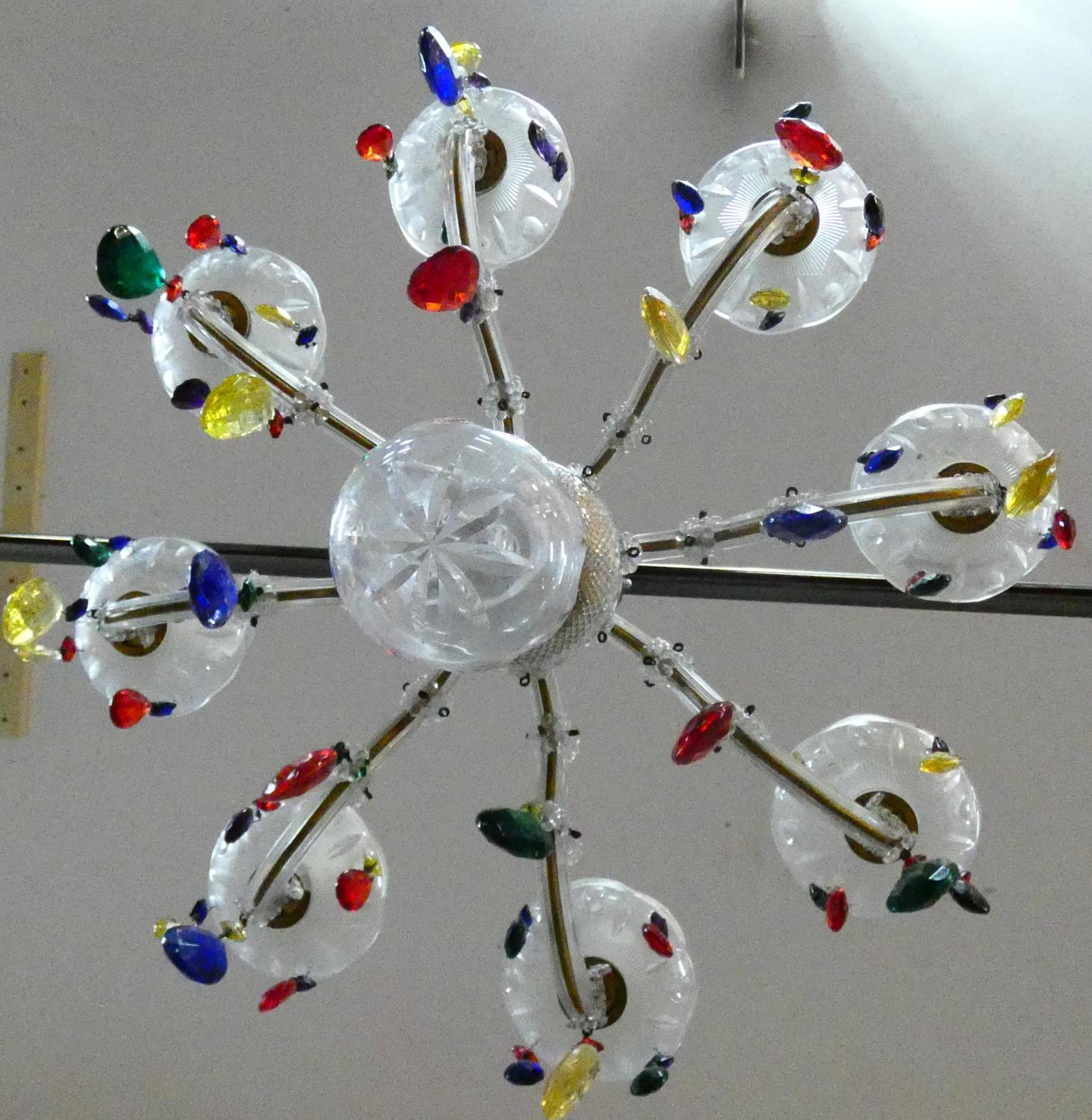 An eight branch glass framed ceiling chandelier with polychrome crystal drops. H.57 D.52cm - Image 6 of 7