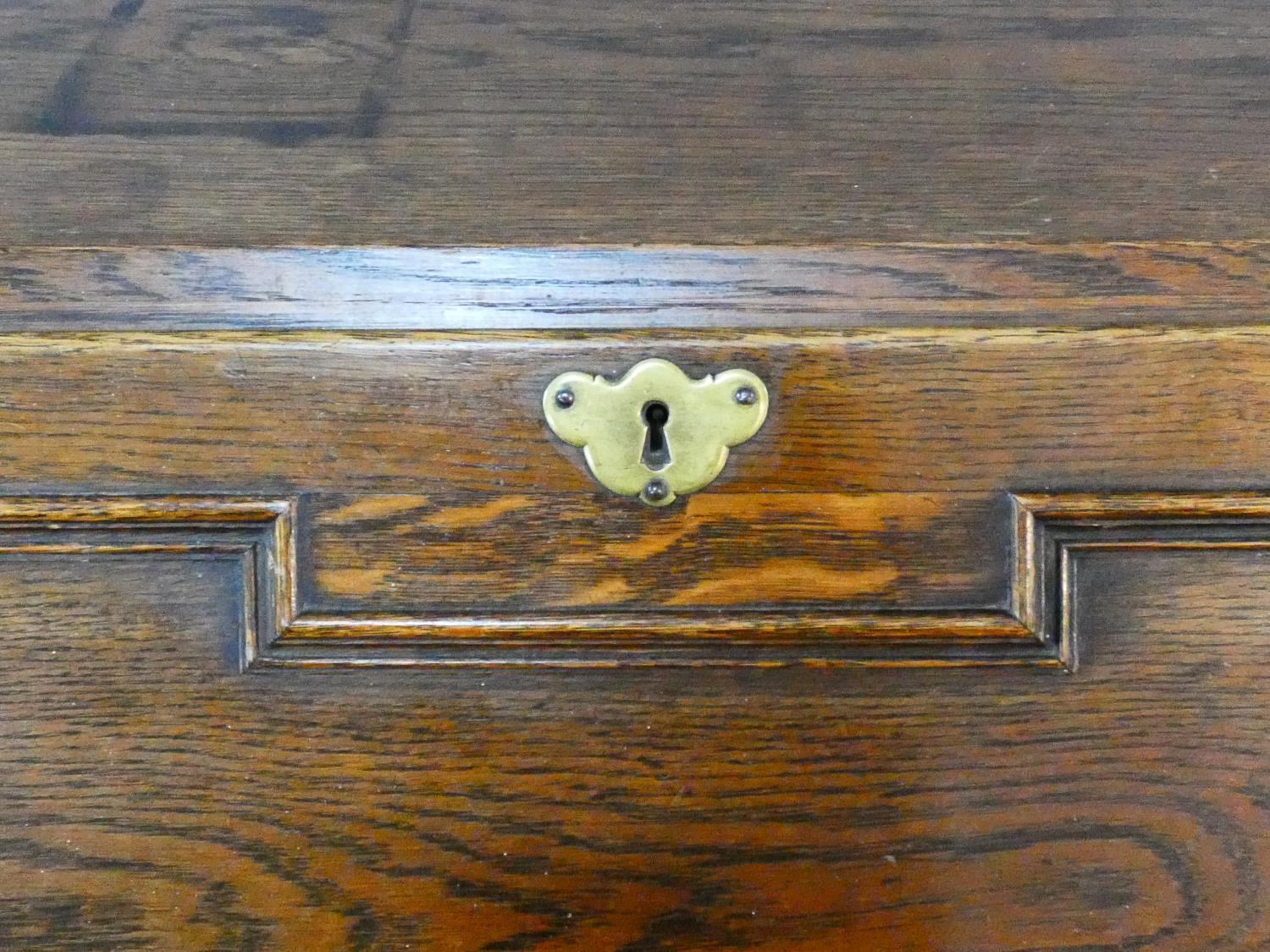 A mid century Jacobean style oak bureau with lozenge inset panels and fall front revealing fitted - Image 10 of 26