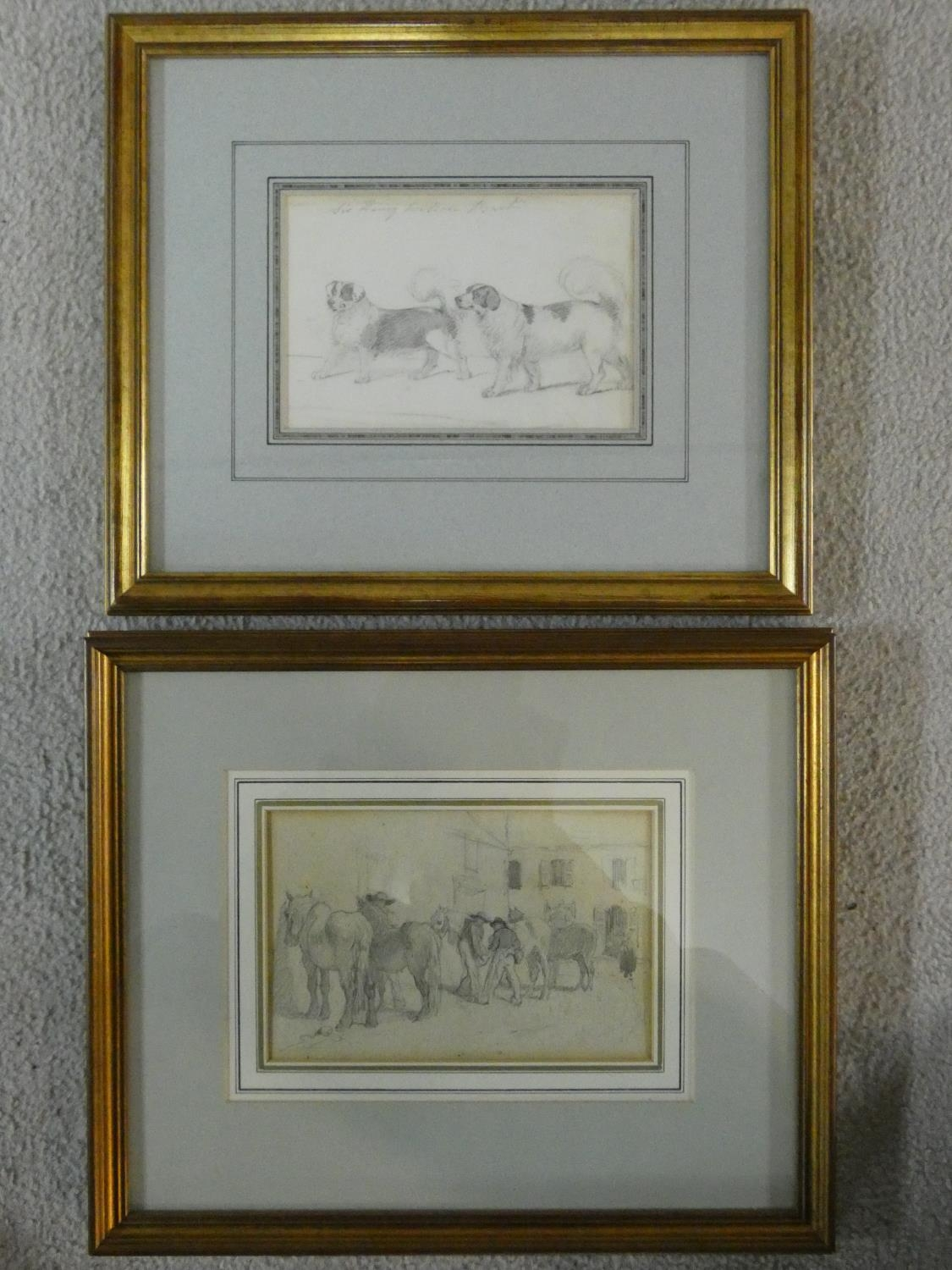 Two 19th century framed and glazed pencil studies, figures in a stable yard and Sir Henry Wilson's