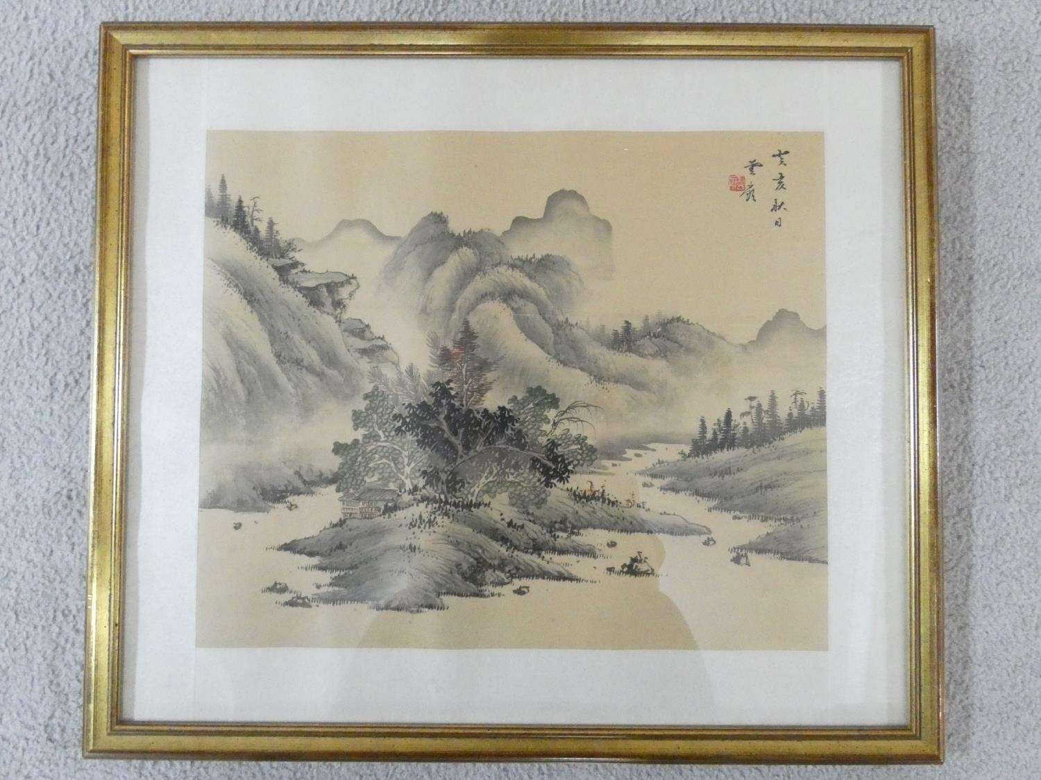 A framed and glazed ink on silk, Japanese mountainscape, stamped. 43x50cm - Image 2 of 5