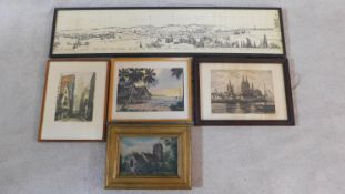 A.B. HASSAN, watercolour of Malaysian beach houses, oil on canvas of a church, signed etching of a