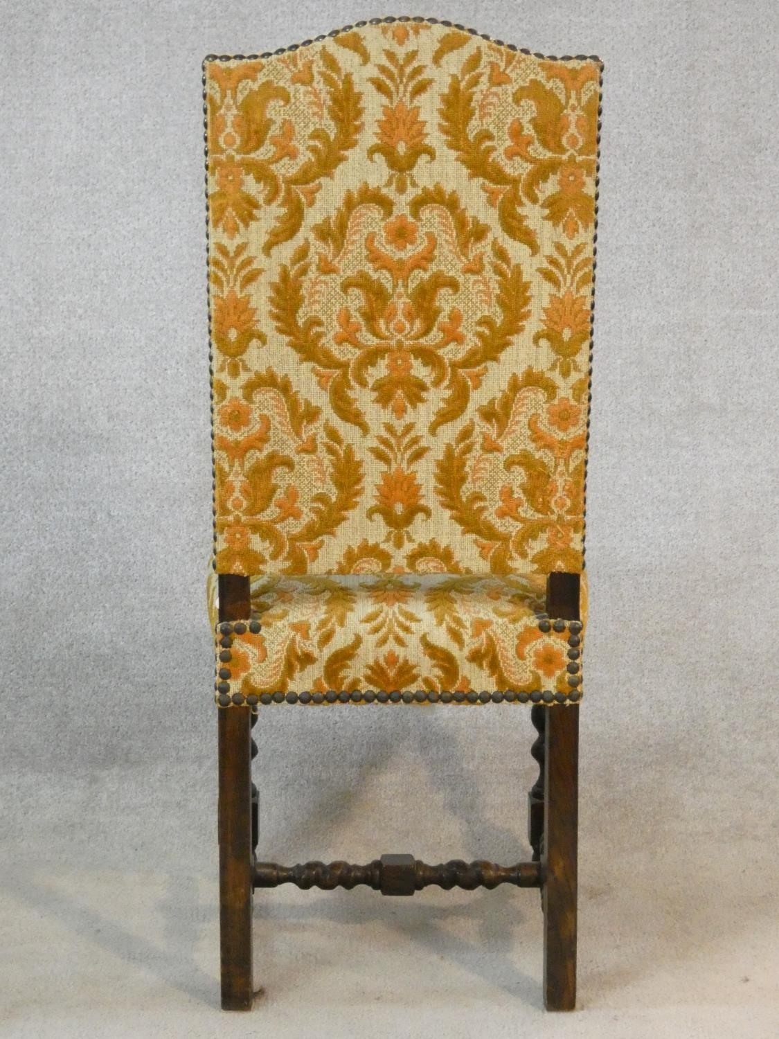 A set of six Jacobean style oak framed high back dining chairs in gold cut floral upholstery on - Image 13 of 14