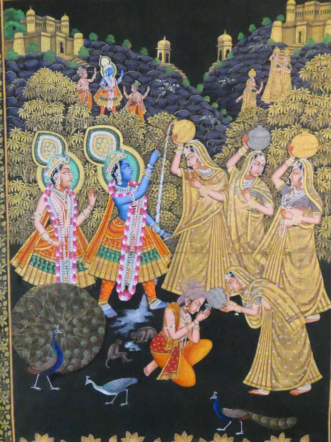 A large framed Indo-Persian gilded silk painting of Krishna with females surrounding him, standing