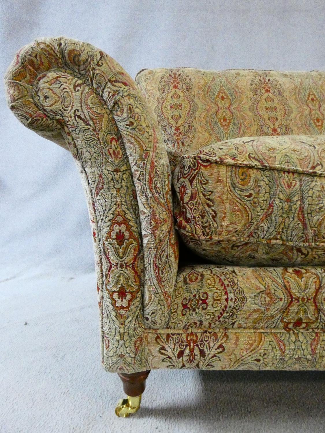 A large Parker Knoll two seater Burghley sofa in Baslow Medalli gold upholstery raised on turned - Image 5 of 10