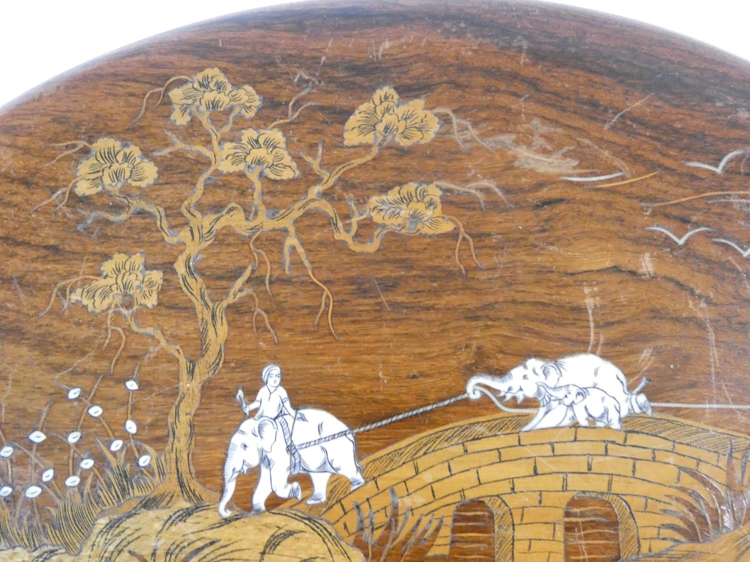 A hardwood inlaid Indian wall plaque with a procession of elephants on a bridge, green glazed - Image 7 of 9