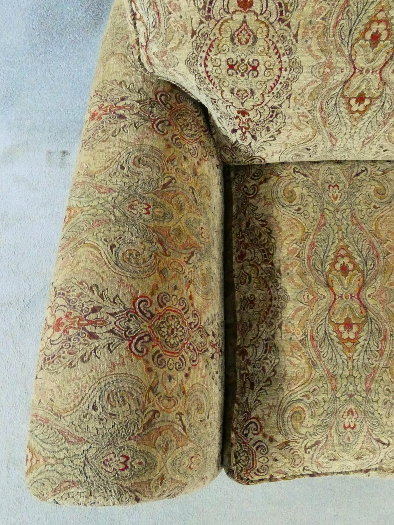 A large Parker Knoll two seater Burghley sofa in Baslow Medalli gold upholstery raised on turned - Image 4 of 10