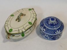 A Royal Doulton lidded tureen and a Chinese blue and white lidded spice pot. H.14 W.31 D.18cm (