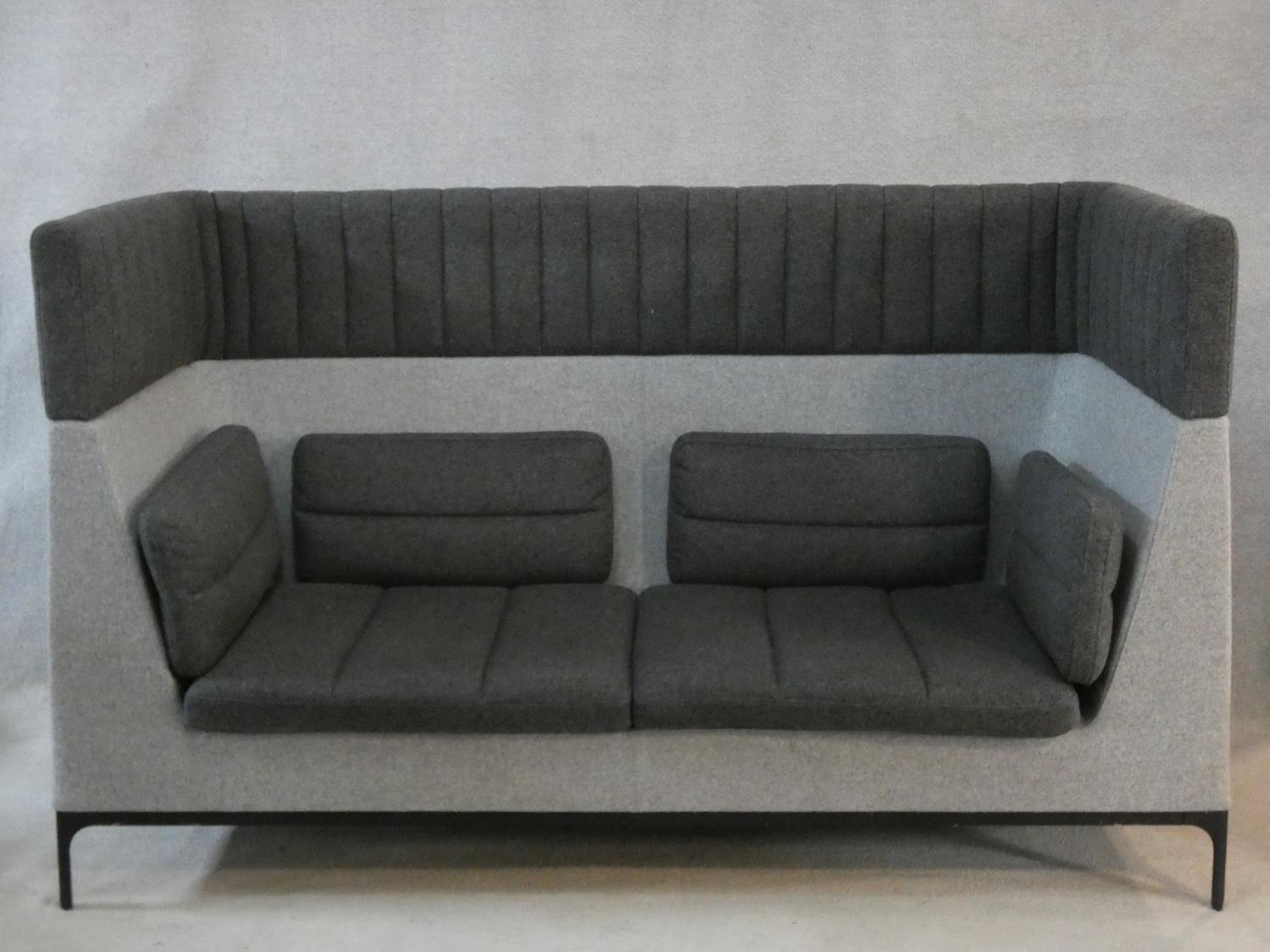 Mark Gabbertas for Allermuir, a Haven sofa in two tones of grey. H.118xW.200xD.81cm