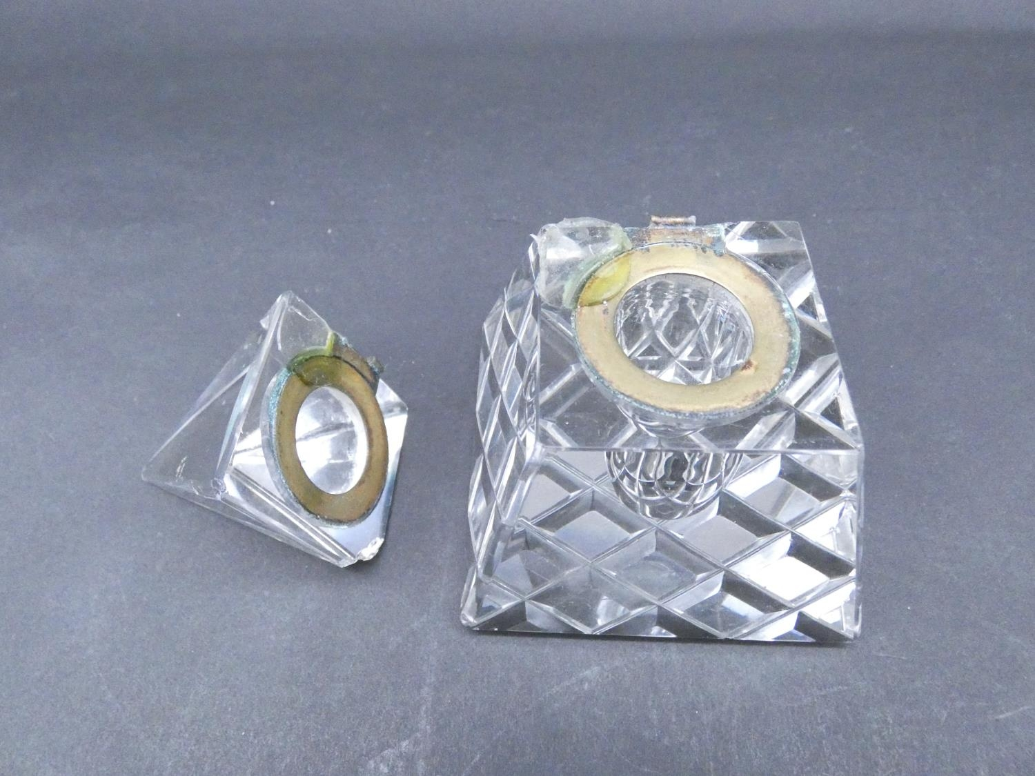 An antique cut glass and brass pyramidal ink well along with a weighted silver ashtray. Hallmarked: - Image 5 of 20