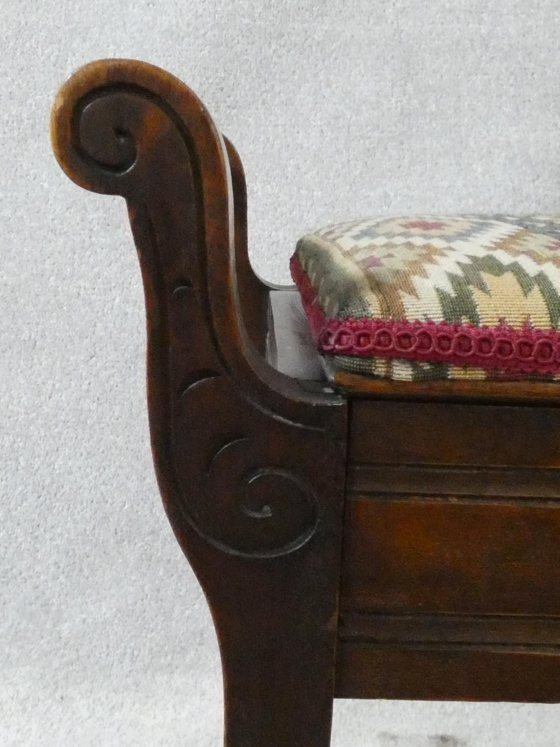 A late 19th century mahogany piano stool on square tapering supports. H.51XL.58XW.35 - Image 4 of 6