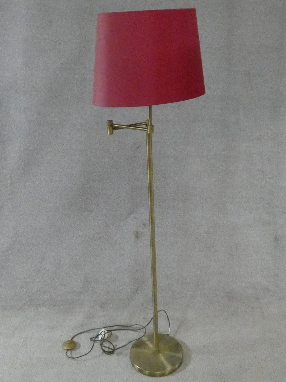 Two brass standard lamps with articulated actions and a chrome adjustable standard lamp. H.162cm - Image 3 of 16