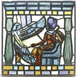 An Egyptian Revival period panel of leaded and stained colored glass.