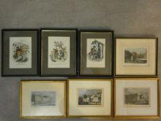 Seven framed and glazed antique hand coloured engravings, four of British places of interest and