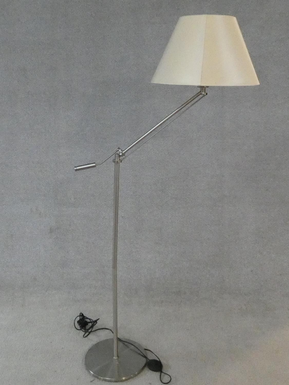 Two brass standard lamps with articulated actions and a chrome adjustable standard lamp. H.162cm - Image 8 of 16