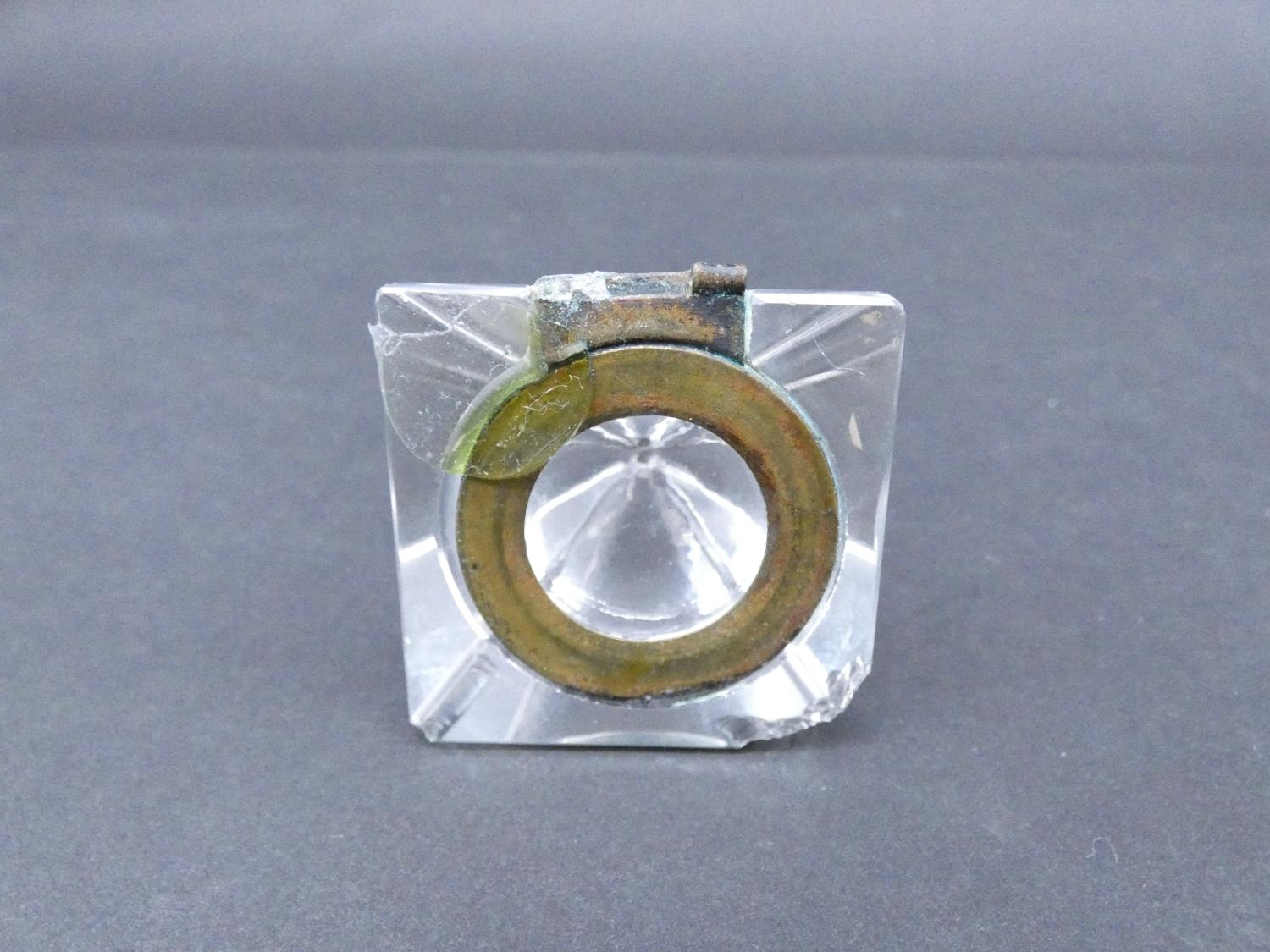An antique cut glass and brass pyramidal ink well along with a weighted silver ashtray. Hallmarked: - Image 9 of 20