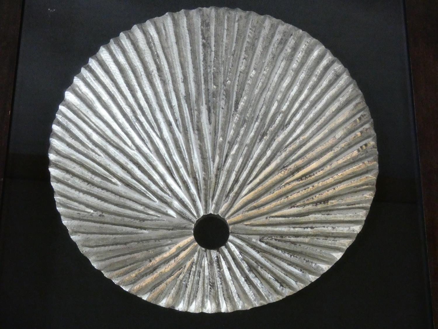 A contemporary carved wood textured silver disk, mounted on black, shadow box framed. H.80 W.80cm - Image 2 of 4