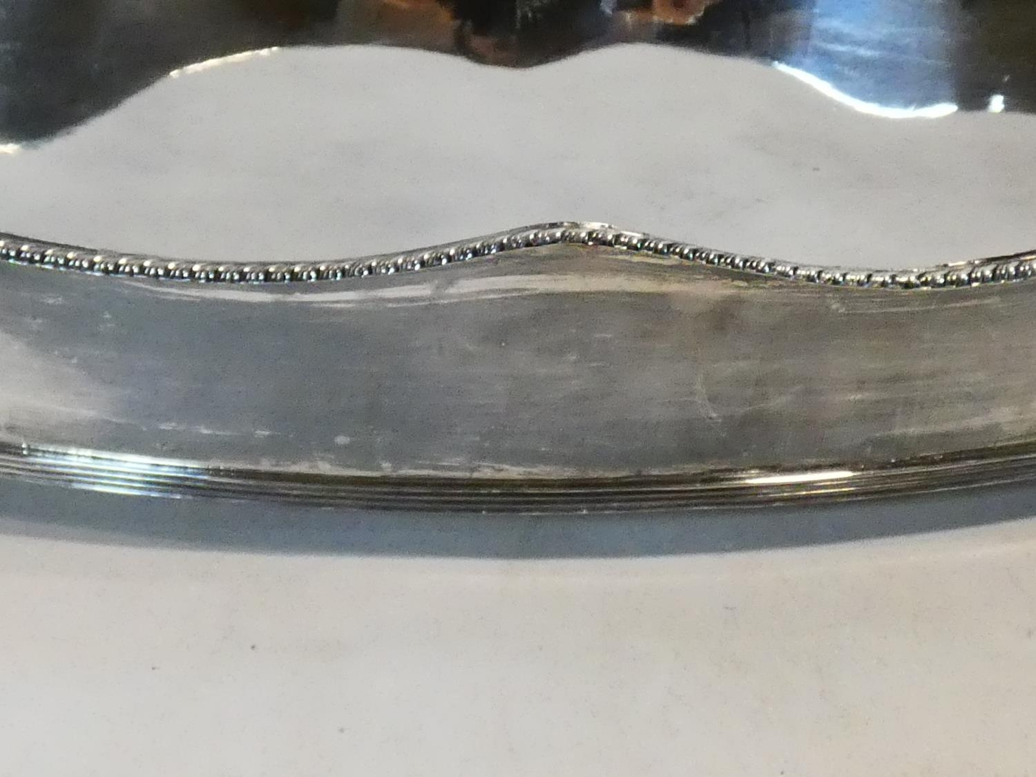 A silver plated twin handled galleried tray along with a silver plated comport with pierced - Image 6 of 7