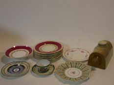 A miscellaneous collection of various 19th century porcelain to include hand painted plates etc